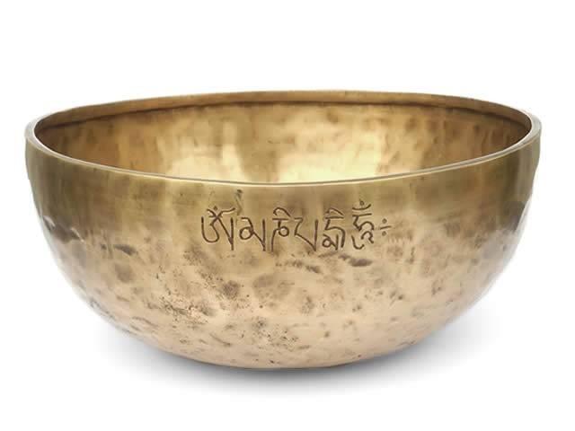 Tibetische Gravur Klangschale 2080 Gr. Thetawelle mit Buddha Grüne Tara