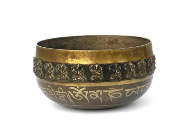 "Gegossene Klangschale 940 Gr. Saturn mit Buddha Gravur ""Manjushri"""