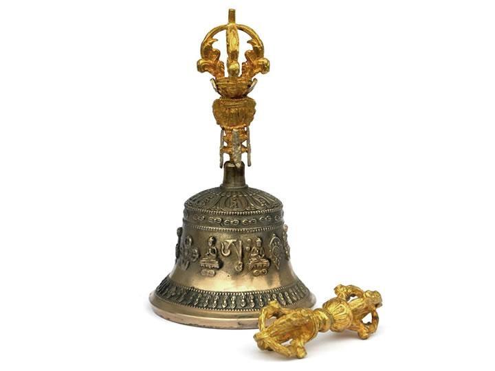 Set tibetische Tempelglocke + Dorje groß Premium-Qualität