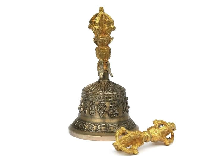 Set tibetische Tempelglocke + Dorje mittel Premium-Qualität