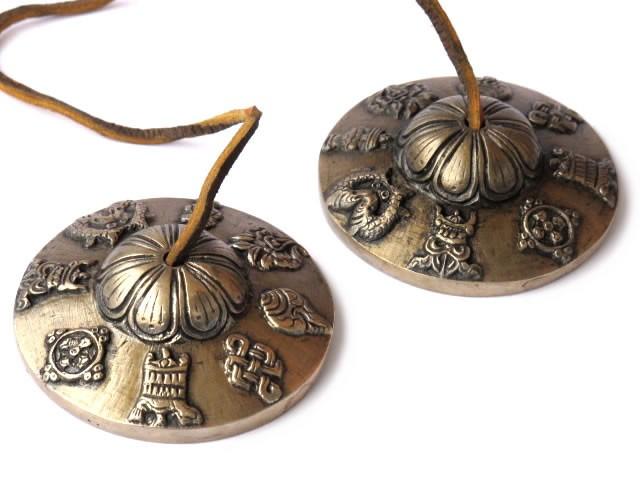 Tibetische Zimbeln 7,5 cm Glückssymbole