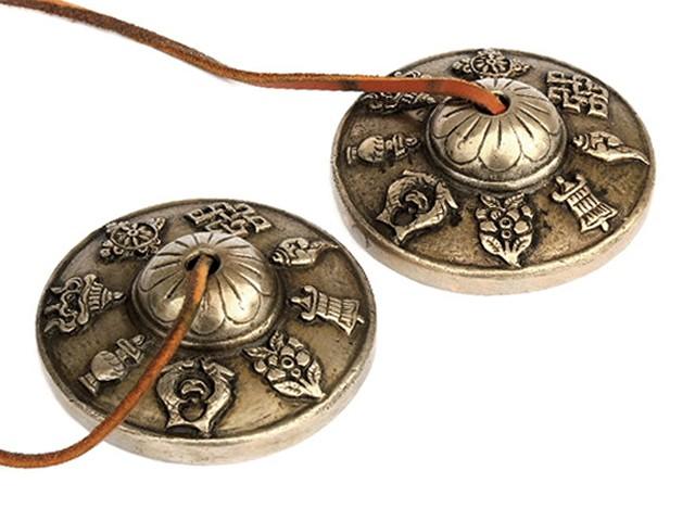 Tibetische Zimbeln 7 cm Glückssymbole